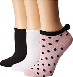 Betsey Johnson 3-Pack Super Soft Low Cuts - Dot Pom Pom
