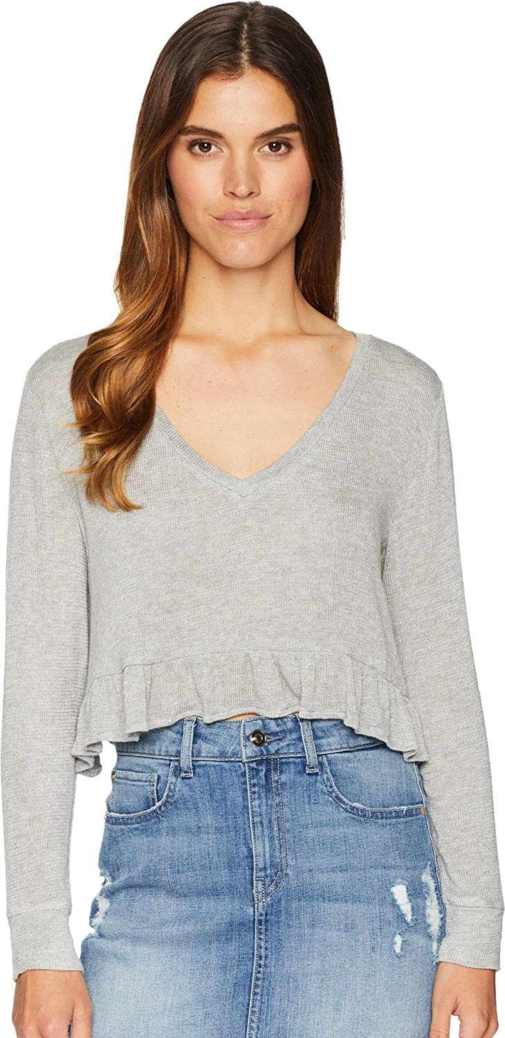 BB Dakota Womens Short & Sweet Sweater Knit Cropped Ruffle Top