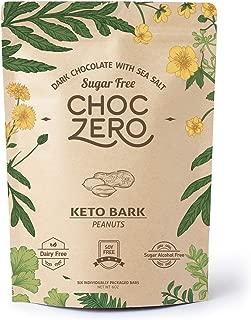 ChocZero's Keto Bark, Dark Chocolate Peanuts with Sea Salt. 100% Stone-Ground, Sugar Free, Low Carb. No Sugar Alcohols, No Artificial Sweeteners, All Natural, Non-GMO (6 bars/box)