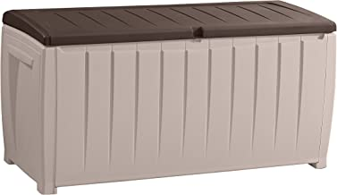 Keter Novel Plastic Deck Storage Container Box Outdoor Patio Furniture 90 Gal, Brown