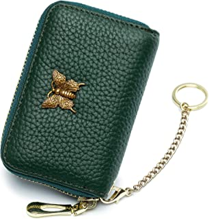 imeetu RFID Leather Credit Card Wallet for Women, Small Zipper Card Case Holder with Removable Keychain(Green)
