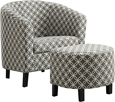 """Monarch Specialties Grey """"Circular"""" Fabric Accent Chair and Ottoman, 30-Inch"""