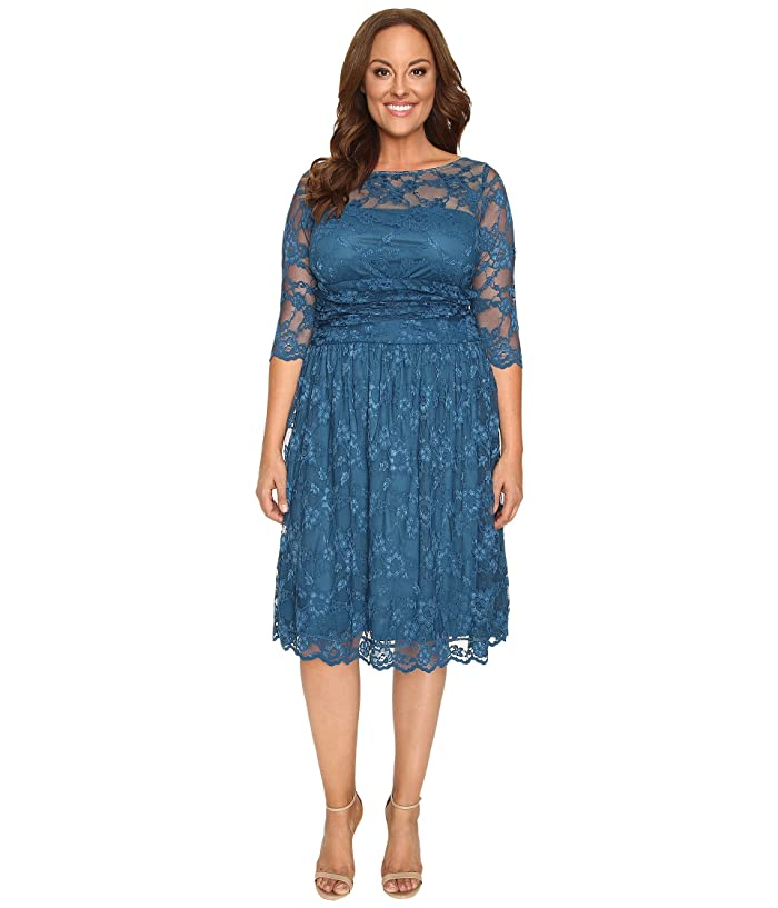 Kiyonna Luna Lace Dress (Crazy About Blue) Women's Dress