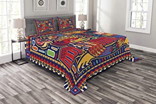 Lunarable Mexican Bedspread, Culture Pattern Colorful Artwork Abstract Snake in Vivid Folk Style, Decorative Quilted 3 Piece Coverlet Set with 2 Pillow Shams, Queen Size, Mustard Orange