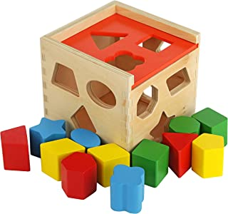 Colorful Shape Cube Sorting Puzzle - Solid Wood Toy with 12 Shapes - Educational Baby Toy for Toddler Boys and Girls Age 18-24 Months, 2 Years and Up - Classic Early Development Shape Recognition Toy