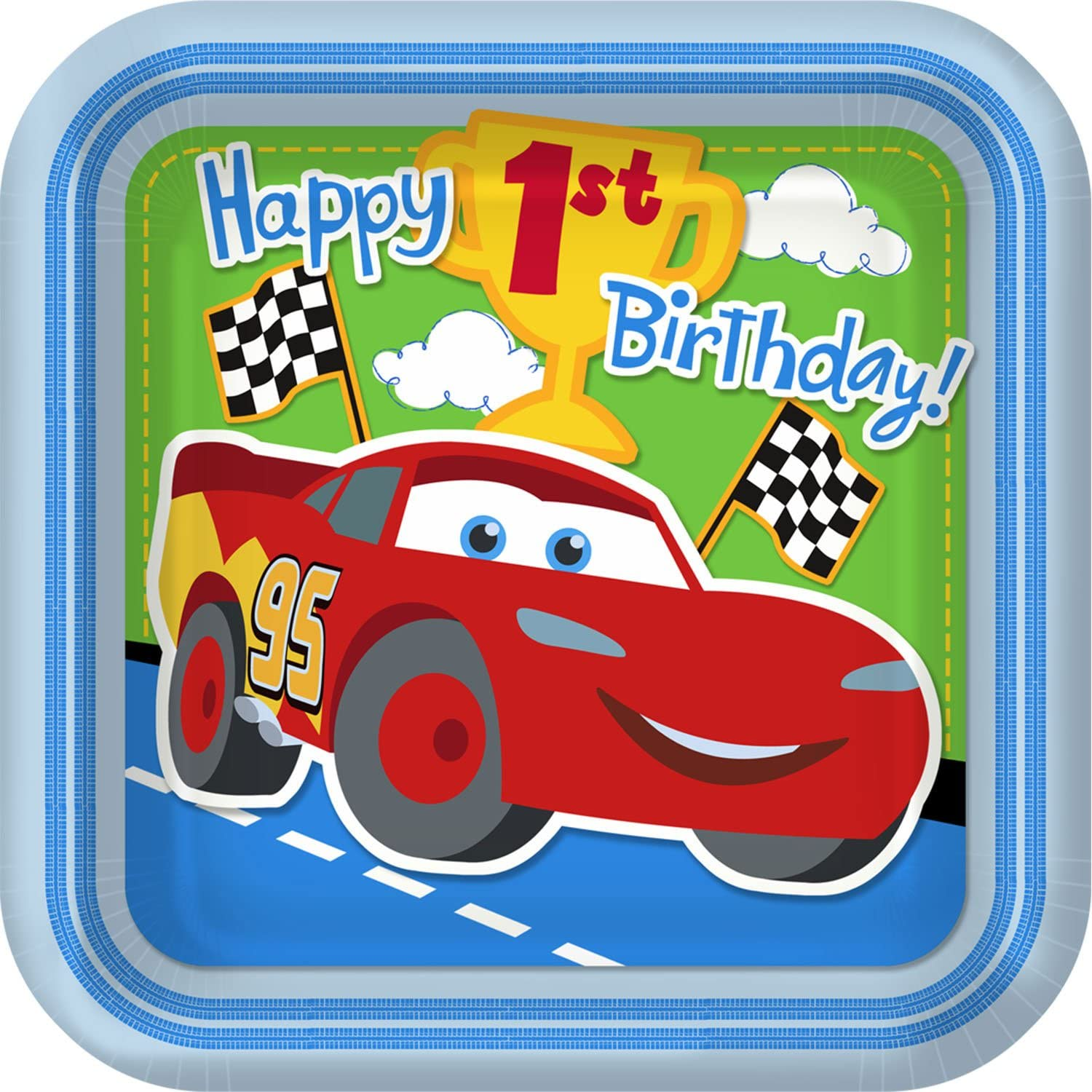 Disney Cars 1st Birthday Champ 8Pack Paper Plates
