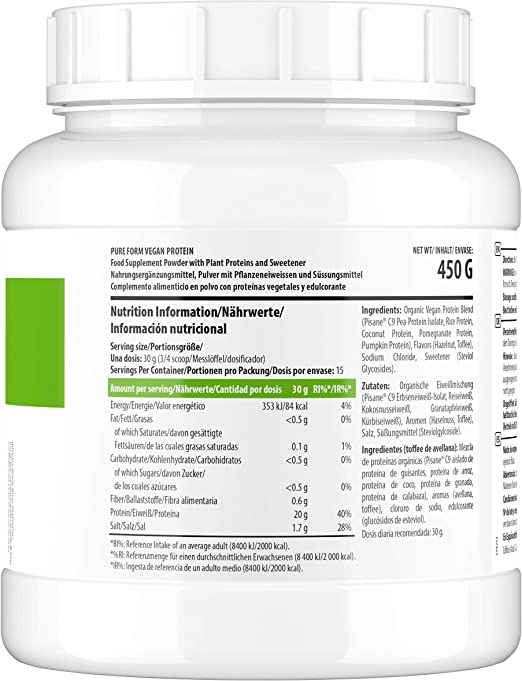Scitec Nutrition Pure Form Vegan Protein, Chocolate, 450 Gramos