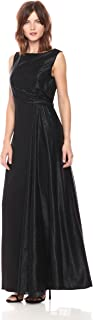 Tahari by Arthur S. Levine Women's Sleeveless Boatneck Gown with Metallic Sash and Jewel