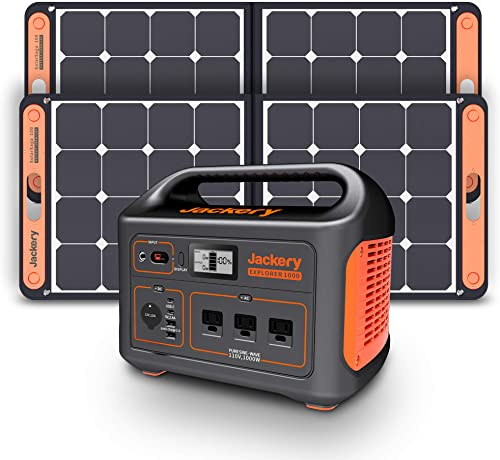 Jackery Solar Generator 1000, Explorer 1000 and 2X SolarSaga 100W with 3x110V/1000W AC Outlets, Solar Mobile Lithium ...