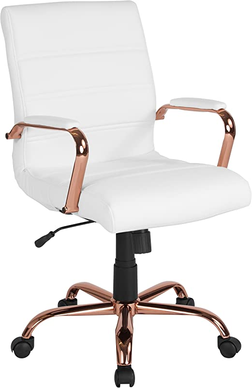 Flash Furniture Mid Back White Leather Executive Swivel Office Chair With Rose Gold Frame And Arms
