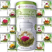 Teabloom Flowering Tea - 12 Unique Varieties of Blooming Tea Balls - Hand-Tied Green Tea & Edible Flowers 12 Variety Tea Flowers