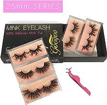 Googoo False Eyelashes 3D Mink Fur Eyelashes E8 Long Bushy Siberian Mink Lashes 25mm 5 pairs Multipack 100% Real Natural Fake Eyelashes