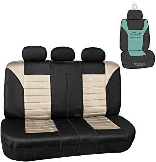 FH Group FB068013 Premium 3D Air Mesh Split Bench Car Seat Cover w. Gift, Beige/Black - Fit Most Car, Truck, SUV, or Van