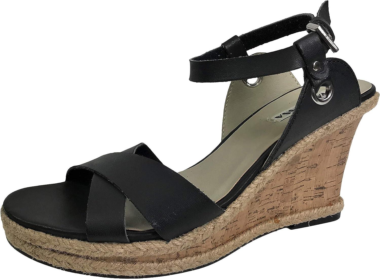 Vannessa Wedge Espradrille Sandal Cork Mid Platform Heel Ankle Wrap Strap