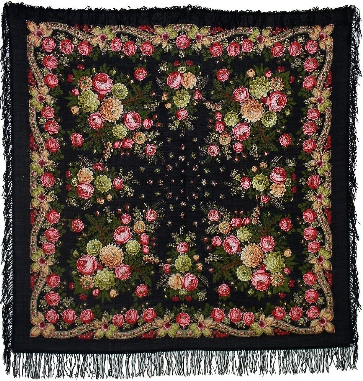 Black Eyes Pavlovo Posad Shawl. 50x50''. Silk Fringe