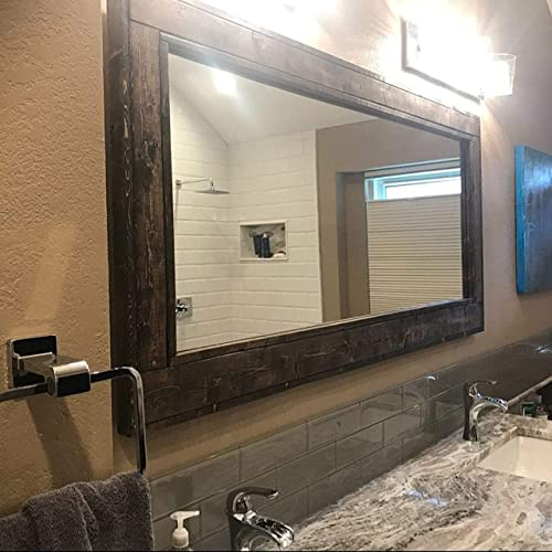 Amazon Com Herringbone Reclaimed Wood Ex Large Framed Mirror Available In 4 Sizes And 20 Stain Colors Shown In Dark Walnut Bathroom Vanity Mirror Mirror Wall Mounted Rustic Decor Handmade Products
