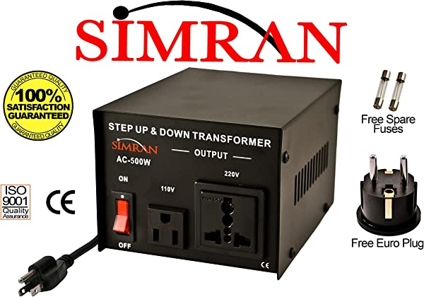 Simran AC 500 Voltage Power Converter Step Up Down Transformer 110 Volt 220 Volt 500 Watt Black