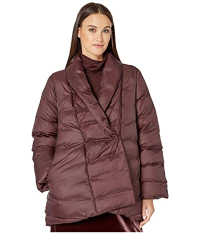 Eileen Fisher Eggshell Recycled Nylon High Shawl Collar Coat (Cassis) Women