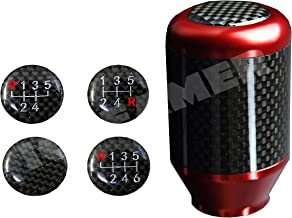 ICBEAMER JDM Racing Style Aluminum w/Carbon Fiber Mini Manual Stick Shift Knob 5 6 Speeds Pattern [Color: Red]