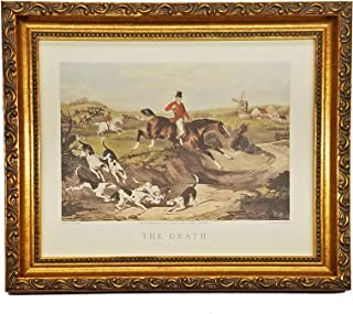 The Death - English Fox Hunt Scene Picture - Beagle Horses Bugles Creek - Antique Gold Frame