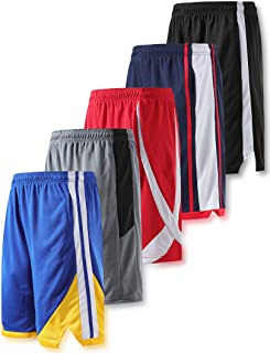 Liberty Imports Pack of 5 Men's Athletic Basketball Shorts Mesh Quick Dry Activewear with Pocket