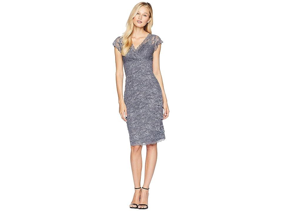 MARINA Beaded Stretch Lace Tiered Short Dress (Gunmetal) Women