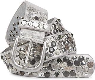 styleBREAKER Nietengürtel im Vintage Design, verschiedenen Nieten und Strass, kürzbar, Damen 03010051