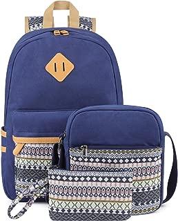 Plambag Canvas Backpack Set 3 Pcs, Casual Lightweight School Backpack for Women Teen Girls Blue