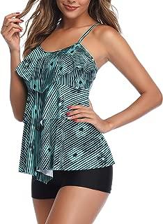 Women 2 Piece Flounce Printed Top with Boyshorts Tankini Bathing Suits