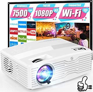WiFi Projector, Full HD Native 1080P Projector 7500Lumens LCD Projector for Outdoor Movies, Wireless Mirroring/4K/Smartpho...