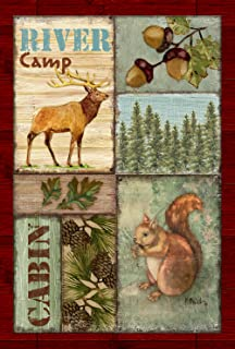 Toland Home Garden Cabin Camp 28 x 40 Inch Decorative Outdoors Forest Animal Pine Acorn Squirrel House Flag