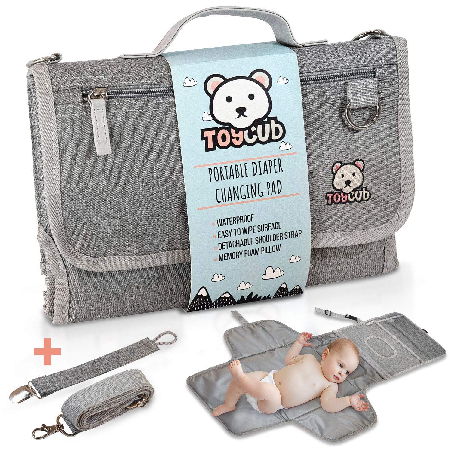 ToyCub?s Portable Changing Mat - Lightweight, Easy to Clean Baby Changing Pad, Waterproof Diaper Changing Pad with Head Cushion, Detachable Portable Changing Pad for Baby Showers, Travel Changing Pad