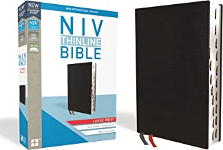 NIV, Thinline Bible, Large Print, Bonded Leather, Black, Red Letter Edition, Thumb Indexed, Comfort Print