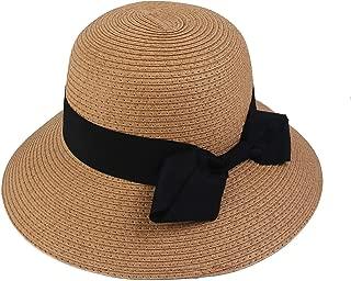 Melesh Packable Wide Brim Summer Straw Sun Beach Bucket Hat