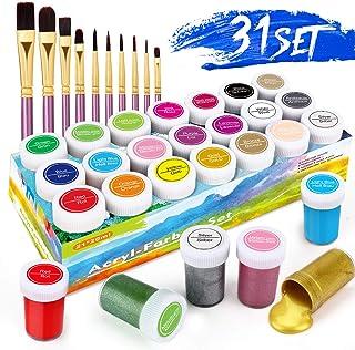 Acrylfarbenset, RATEL Premium 31 Acryl-Farbe-Set Bunt mit 21 x 20 ml Pigment10 Pinselstift-Ungiftige und vibrierende Farben Acrylfarben-set für Papier, Stein, Holz, Keramik, Stoff, Kunsthandwerk