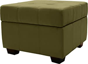Epic Furnishings Microfiber Suede Upholstered Tufted Padded Hinged Square Storage Ottoman Bench, 24, Olive Green