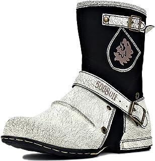 osstone Bottes de Cowboy Moto pour Hommes Mode Zipper Bottes Chukka en Cuir Chaussures décontractées OS-5008-1-H8-C-R
