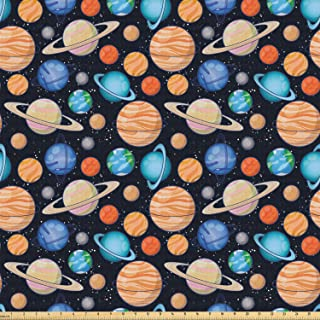 Ambesonne Galaxy Fabric by The Yard, Galaxy Space Art Solar System Planets Mars Mercury Uranus Jupiter Venus Kids Print, Stretch Knit Fabric for Clothing Sewing and Arts Crafts, Multicolor