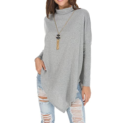 f7aed4152439 levaca Women s Long Batwing Sleeve Turtleneck Hankerchief Hem Loose Casual  Tunic