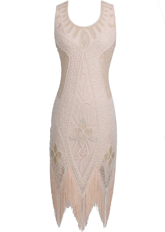 Celeblink Women's Sequin Flapper Dresses 1920s Great Gatsby Art Deco Cocktail Dress