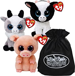 Ty Beanie Boos Butter (Cow), Piggley (Pig) & Gabby (Goat) Gift Set Bundle with Bonus Matty's Toy Stop Storage Bag - 3 Pack