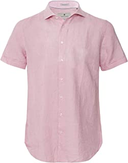 Thomas Maine Men's Tailored Fit Linen Short Sleeve Roma Shirt Pink