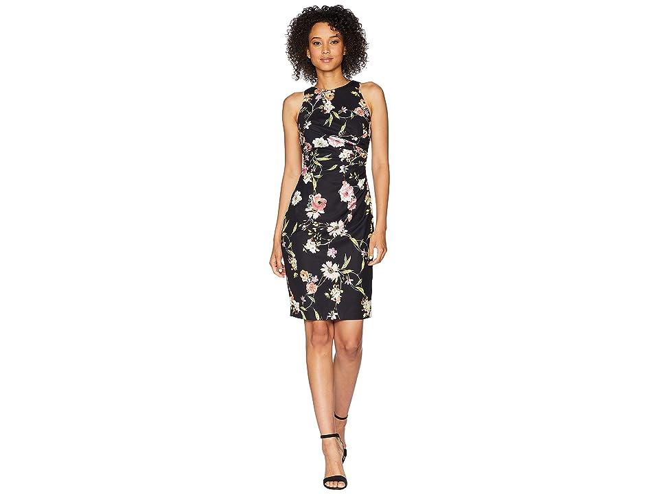 Adrianna Papell Eternal Blooms Print Sheath Dress (Black Multi) Women