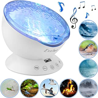 Night Light Projector Ocean Wave - Sound Machine with Soothing Nature Noise and Relaxing Light Show - Color Changing Wave Light Effects for Baby Kids Adults Bedroom Living Room