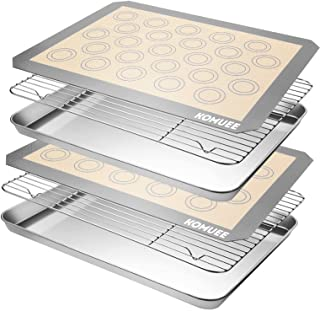 KOMUEE Stainless Steel Baking Sheet Tray Cooling Rack with Silicone Baking Mat Set, Cookie Pan with Cooling Rack, Set of 6...