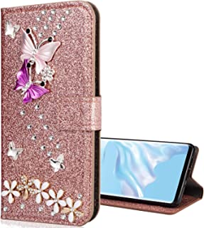 EnjoyCase Galaxy Note 10 Lite Bling Case,Glitter Diamond Wallet Case with Kickstand Card Slots Magnetic Butterfly Flower P...