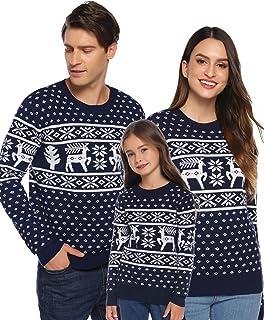 Suéter de Navidad para Familia,Jersey de Copos de Nieve de Renos navideños para Mujer Hombre,Jersey Pullover de Punto Vintage de Inviernno Manga Larga para Niño Niña