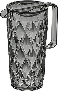 """Koziol """"Crystal"""" Pitcher Jug, Transparent/Anthracite, 1.6 Litre"""