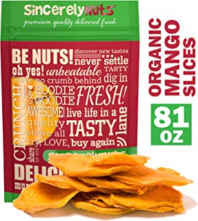 Sincerely Nuts Dried Organic Mango Slices (5 LB)- Gluten-Free Food, Vegan, and Kosher Snack-Nutritious and Satisfying Tropical Fruit-High in Vital Nutrients-Healthy Alternative for Sweet Tooth