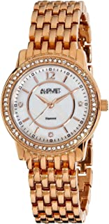 August Steiner Women's Diamond Dress Watch - Crytal Bezel with Mother of Pearl Dial on Rose Gold ToneStainless Steel Brace...